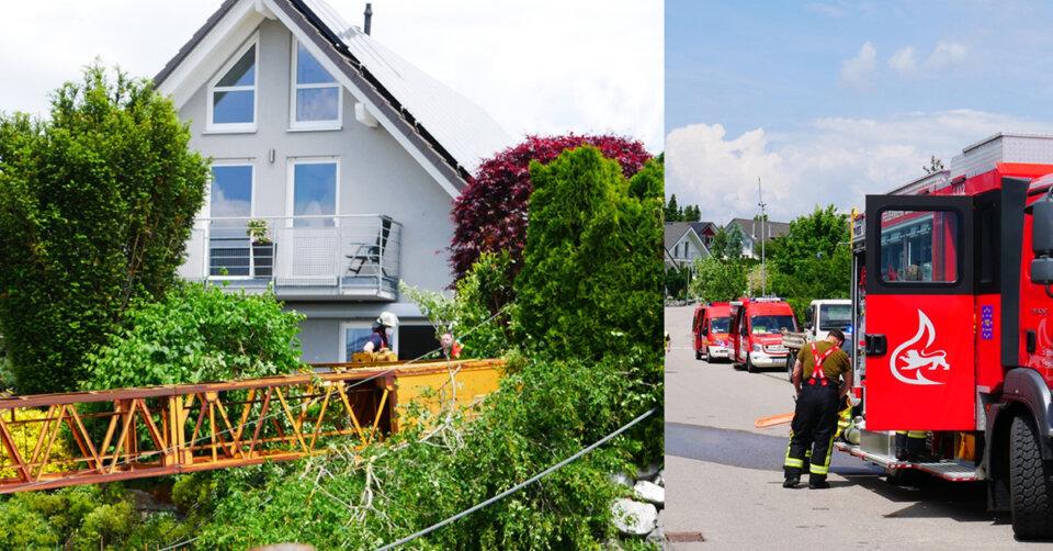 Bad Saulgau: Baukran stürzt in Wohngebiet