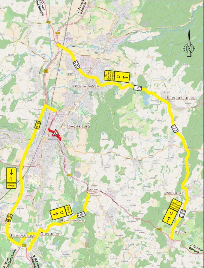 Verkehrshinweise des Regierungspräsidiums Tübingen.