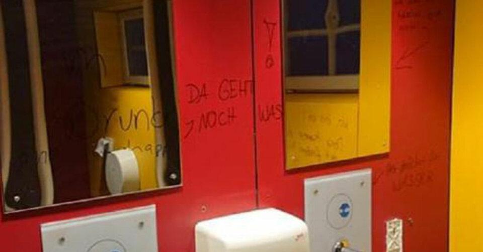 Vandalismus in der Toilettenanlage bei der Kirche