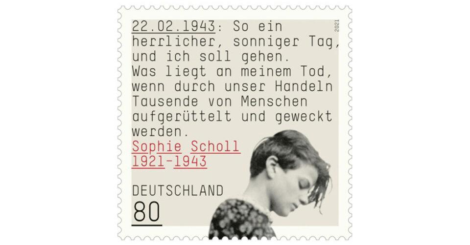 Briefmarke erinnert an Sophie Scholl: Ab 6. Mai in Postfilialen und online erhältlich
