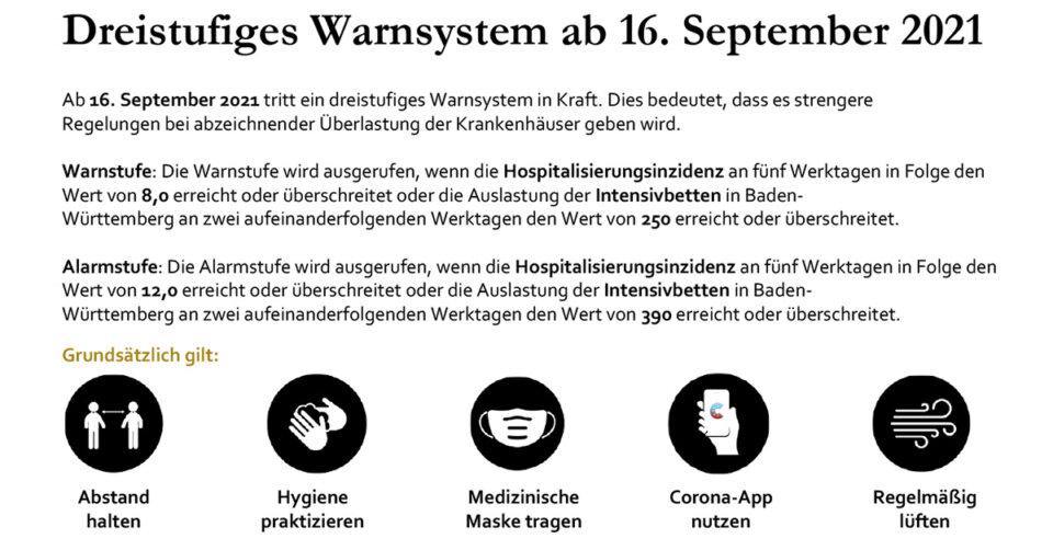 Aktuelle Änderungen der Corona-Verordnung zum 16. September 2021 für Baden-Württemberg
