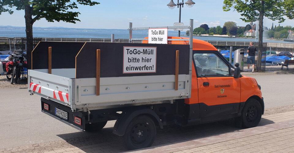 Versuch an der Uferpromenade: Stadt setzt mobilen Abfallbehälter ein