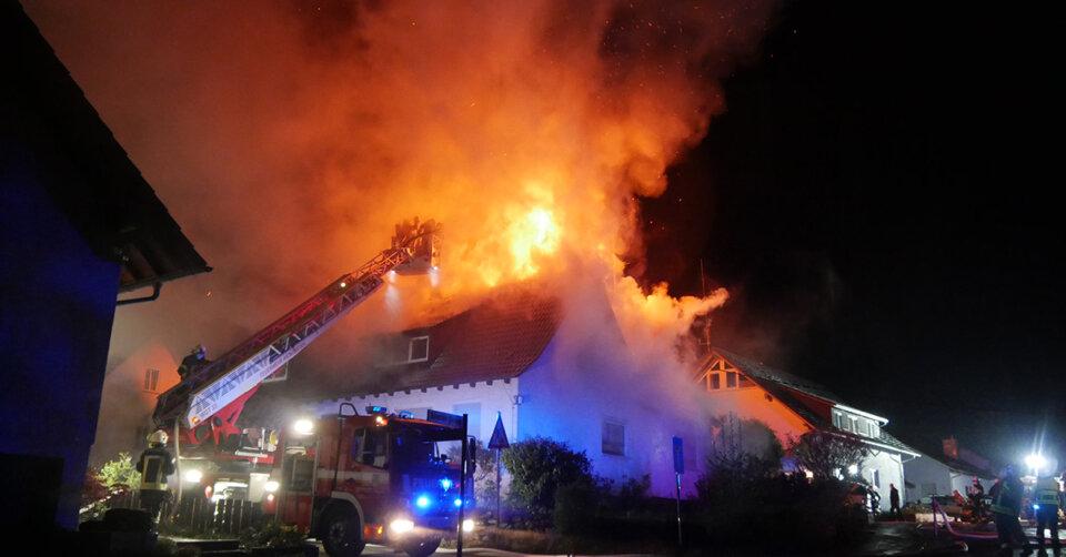Großbrand in Wohnhaus in Fronreute