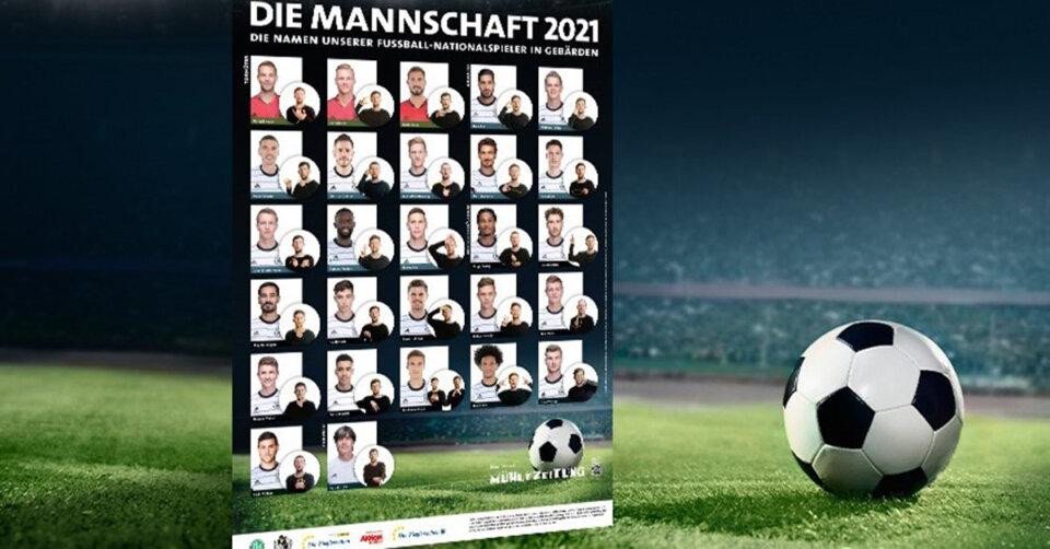 Gemeinsam für mehr Verständigung: Poster mit den Namen der deutschen Nationalspieler in Gebärden