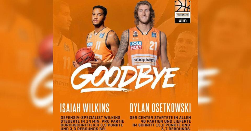 Dylan Osetkowski und Isaiah Wilkins verlassen ratiopharm Ulm