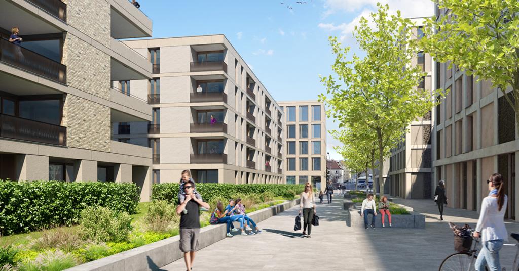 Das Vierlinden-Quartier besticht durch den hohen Grünanteil und das öffentliche Wegenetz.