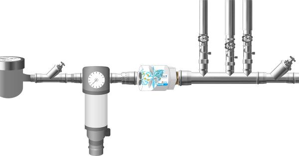 Installation des Whirlator® an der zentralen Hauptwasserleitung