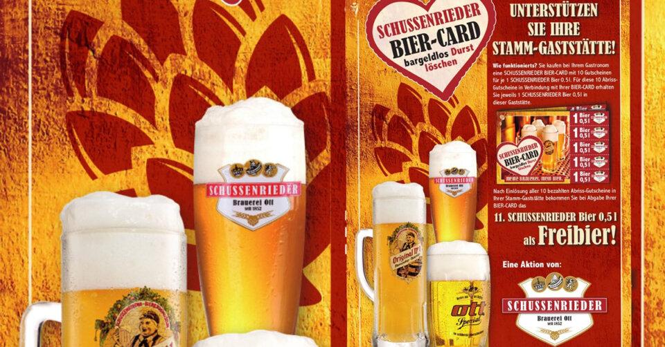 SCHUSSENRIEDER Bier-Card – Unterstützung für Ihren Gastronom!