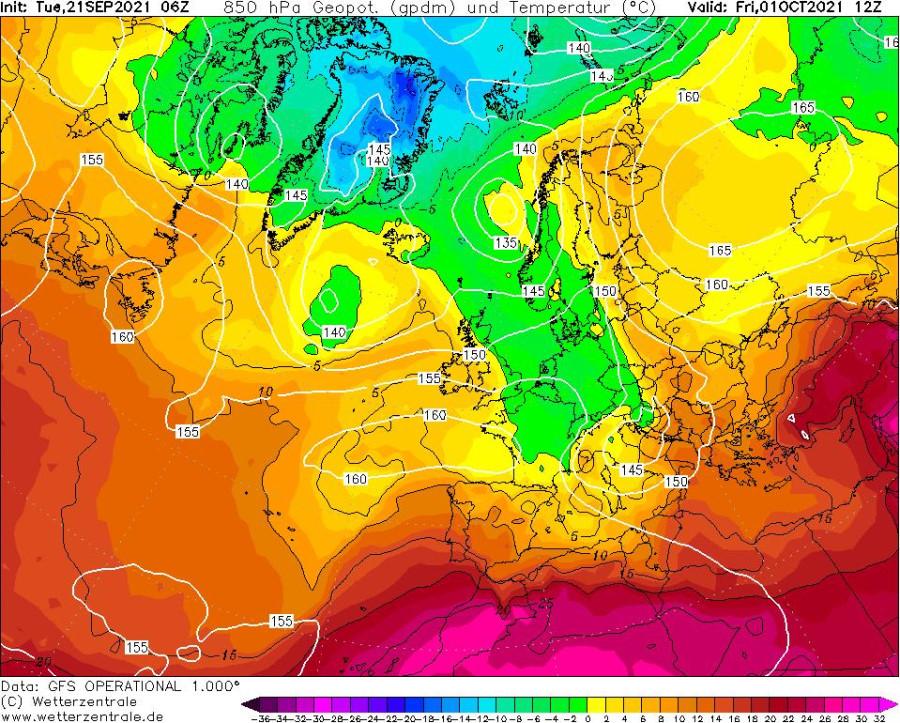 Einen Polarluftvorstoß prognostiziert das GFS-Modell zum Oktoberstart.
