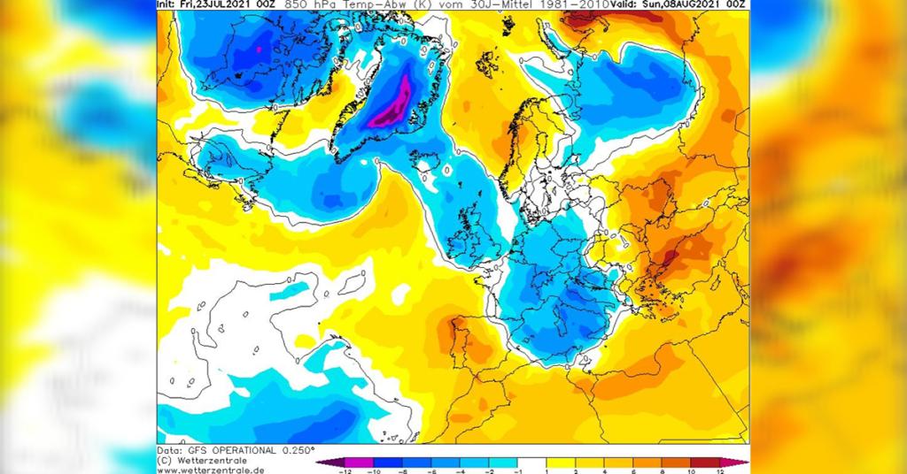 """Eine """"Kälte-Blase"""" liegt über Mitteleuropa bis ins Mittelmeerraum."""